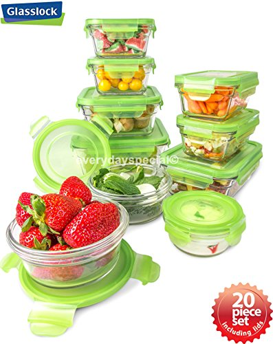 Snapware 20 Pieces Tempered Glasslock Storage Containers