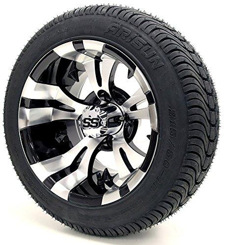 Vampire SS Gloss Black and Machined DOT Golf Cart Tire